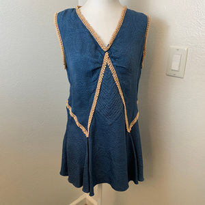 Anna Sui Teal Silk Blouse with Gold Trim.Small